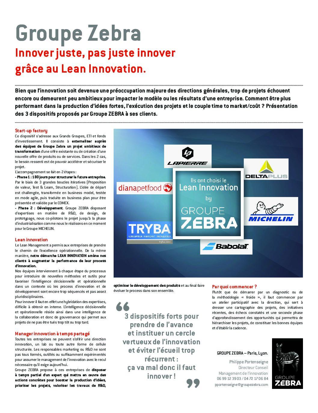 Groupe Zebra : Innover juste, pas juste innover grâce au Lean Innovation.